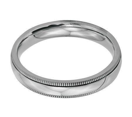 Stainless Steel 4mm Polished Milgrain Ring