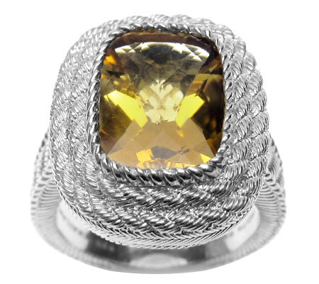 Judith Ripka Sterling Cushion Cut Citrine Ring