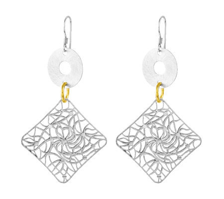Sterling Silver Two-tone Disc & Filigree DangleEarrings