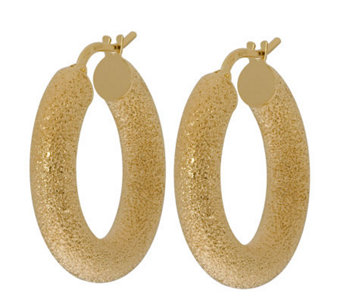 "Veronese 18K Clad 1"" Textured Hoop Earrings - J314874"