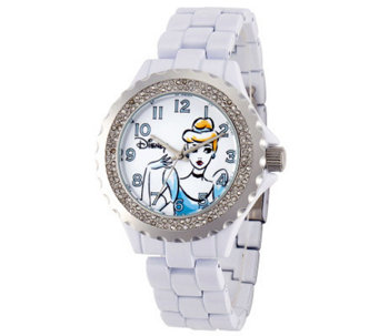Disney Women's White Enamel Cinderella Watch - J315574