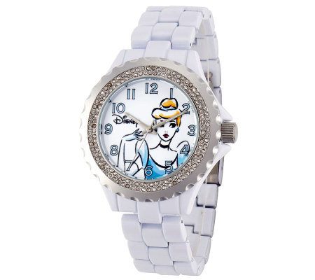 Disney Women's White Enamel Cinderella Watch