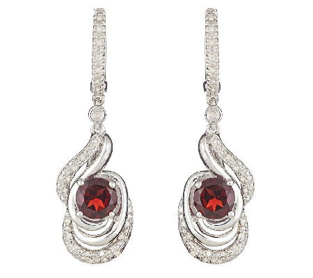 Sterling Silver Round Gemstone and 1/4 ct tw Diamond Earrings