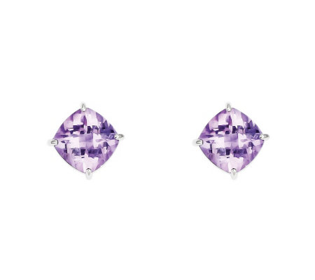 Sterling Silver Diagonal Cushion-Cut Gemstone S tud Earrings