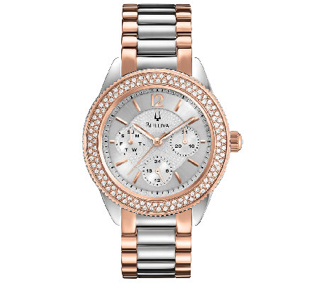 Bulova Ladies Two-Tone Crystal Accent BraceletWatch, Rosetone