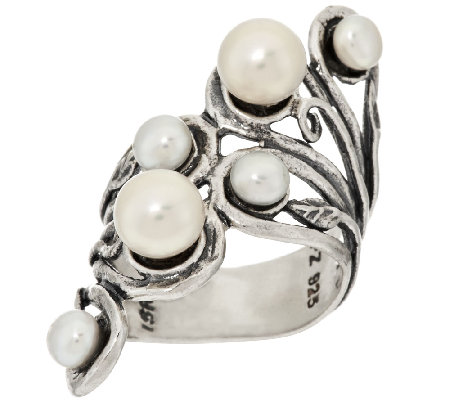 Sterling Silver Cultured Pearl Elongated Ring by Or Paz
