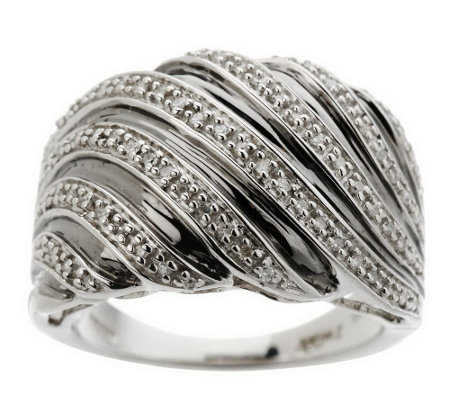 """As Is"" Swirl Band Diamond Ring, Sterling & 18K Plating by Affinity"