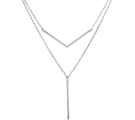 Sterling Silver Double Layer Stick Drop Necklace by Silver Style