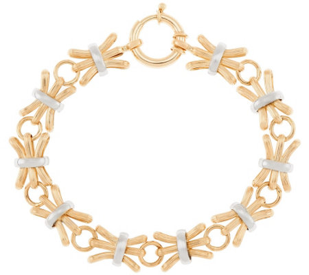 "14K Gold 7-1/4"" Textured & Polished Alternating Bracelet, 7.3g"