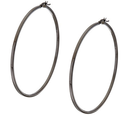 "Sterling Silver 2-1/2"" Polished Hoop Earrings by Silver Style"