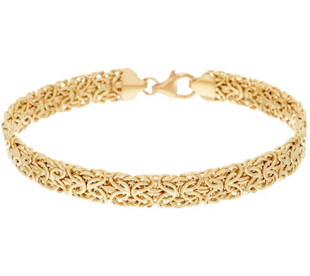 "14K Gold 8"" Domed Mirror Byzantine Bracelet, 6.2g"