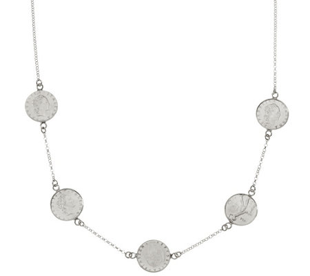 "Italian Silver Sterling 50 Lire Coin 18"" Station Necklace"