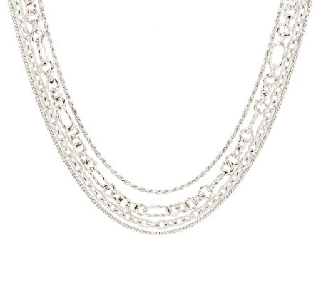 "Judith Ripka Sterling 18"" Multi-Chain Verona Necklace 77.0g"