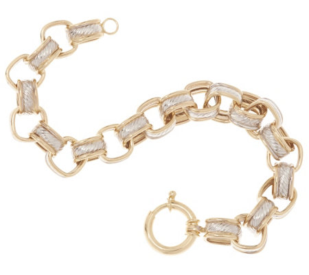 """As Is"" 14K Gold 6-3/4"" Textured & Polished Rolo Bracelet, 10.7g"