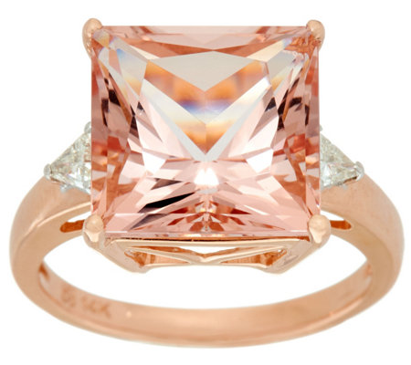 Princess Cut Morganite & Trillion Diamond Ring 14K, 7.00 cts