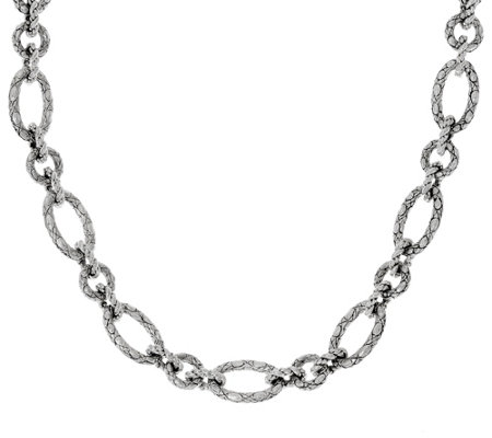"JAI Sterling 74.0g 18"" Croco Texture Link Necklace"