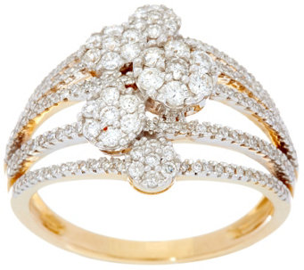 Multi-row Cluster Diamond Ring, 14K, 3/4 cttw, by Affinity - J330174