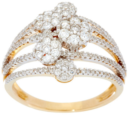 Multi-row Cluster Diamond Ring, 14K, 3/4 cttw, by Affinity