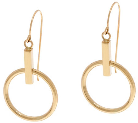 14K Gold Polished Movable Circle Dangle Earrings