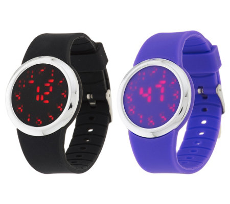 """As Is"" Set of 2 Silicone Watches with Hidden LED Display"