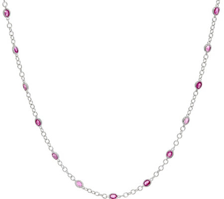 "Precious Gemstone Sterling Silver 36"" Station Necklace"