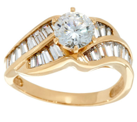 Diamonique Solitaire and Baguette Ring, 14K Gold