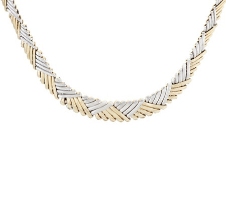 "Dieci 18"" Two-tone Stampato Necklace 10K Gold 14.9g"