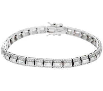 """As Is"" DMQ Baguette and Round Tennis Bracelet, Platinum Clad - J332674"