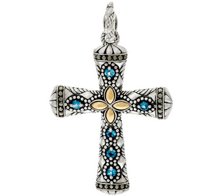 JAI Sterling & 14K India Collection Gemstone Cross Enhancer