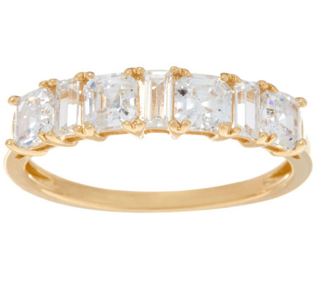 Diamonique Mixed Cut Band Ring, 14K Gold