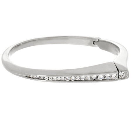 """As Is"" Stainless Steel Polished Graduated Crystal Bangle"
