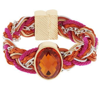 """As Is"" Susan Graver Braided Bracelet with Gem Detail - J333474"