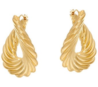 """As Is"" Oro Nuovo Ribbed Front to Back Hoop Earrings 14K - J335774"