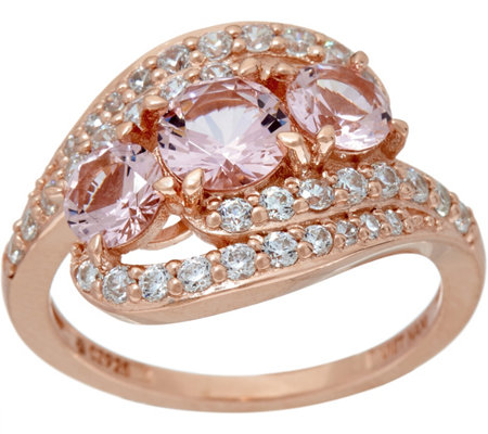 Diamonique and Simulated Morganite Ring, 14K Rose Clad