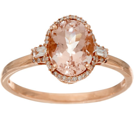 Oval Morganite & Baguette Diamond Solitaire Ring 14K, 1.25 ct
