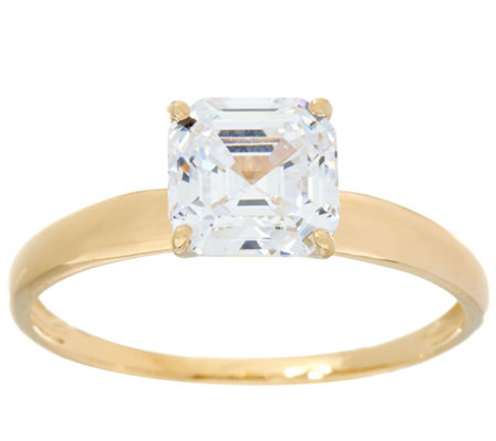 Diamonique 1.00 cttw Solitaire Ring, 14K Yellow Gold
