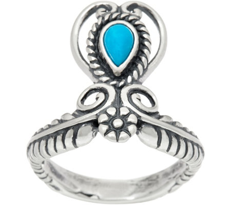 Sterling Silver Gemstone Heart & Leaf Ring by American West