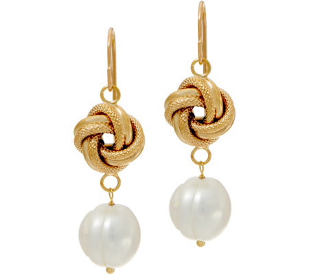 Honora Cultured Pearl Knot Drop Earrings, 14K Gold