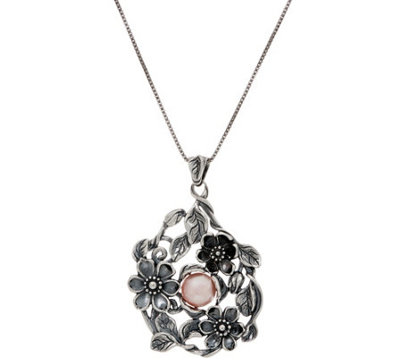 Or Paz Sterling Cultured Pearl Floral Pendant wiih Chain
