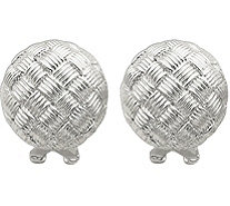 Sterling Basket-Weave Omega Back Earrings - J380174