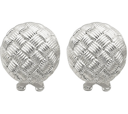 Sterling Basket-Weave Omega Back Earrings