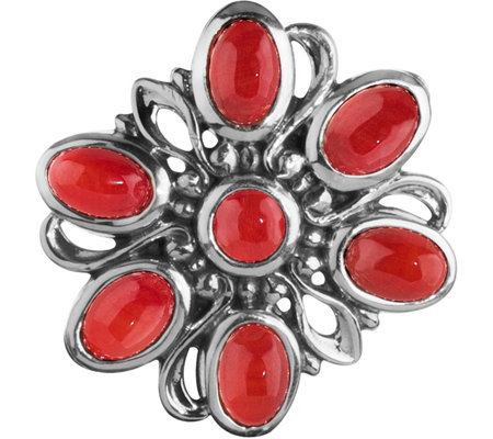 Carolyn Pollack Sterling Magnetic Red Coral Cluster Insert