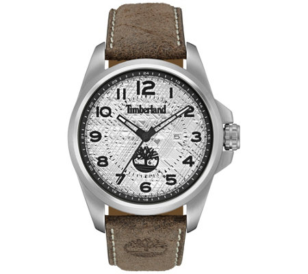 Timberland Men's Silver Stainless Brown LeatherWatch