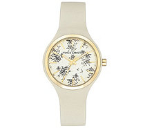 Vince Camuto Women's Floral Ivory Silicone Strap Watch - J383474