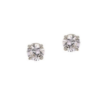 Diamonique 0.75 ct tw Round Stud Earrings, 14KGold - J105275