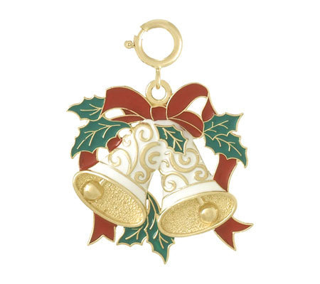 Enamel Holiday Bells Charm, 14K