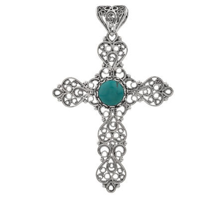 Artisan Crafted Sterling TelkariFiligree and Turquoise Cross Pendant