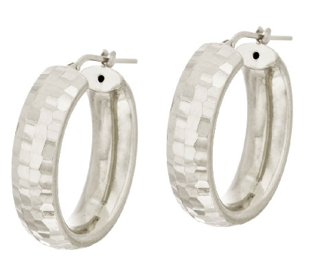 "VicenzaSilver Sterling 1-1/8"" Faceted Diamond Cut Oval Hoop Earrings"