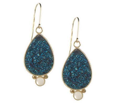 """As Is"" 1-1/2"" Teardrop Drusy with Mother-of- Pearl Accent Earrings, 14K"