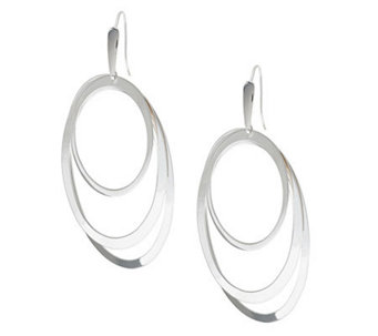 UltraFine Silver Large Polished Triple Oval Dangle Earrings - J278875